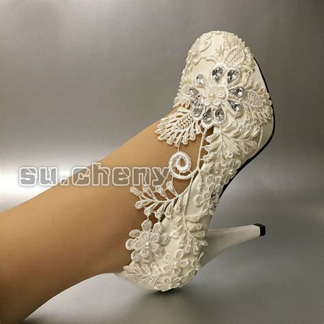 cm heel white lace pearl wedding shoes pumps bridal