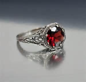 personalized birthstone ring vintage sterling silver filigree garnet ring size 6 5