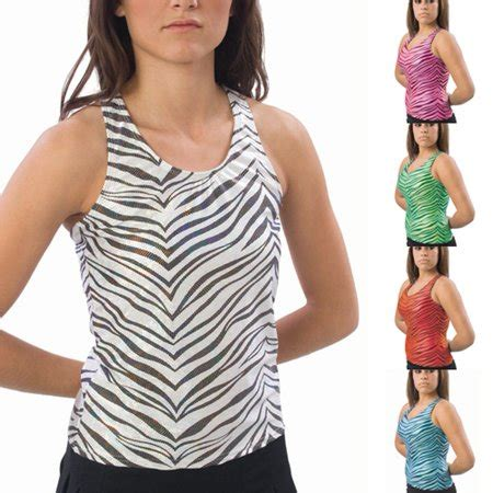Raser Top 8 by Pizzazz Pizzazz Black Turquoise Zebra Racer Back Top
