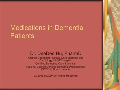 Ppt Medications In Dementia Patients Powerpoint