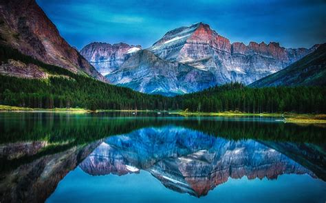 lake mountain forest reflection water sunrise
