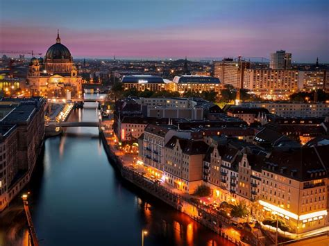 berlin germany city night lights buildings river