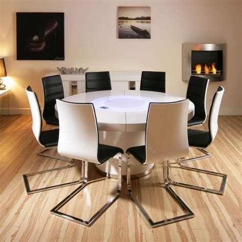 black round dining table and chairs large round white gloss dining table 8 white black