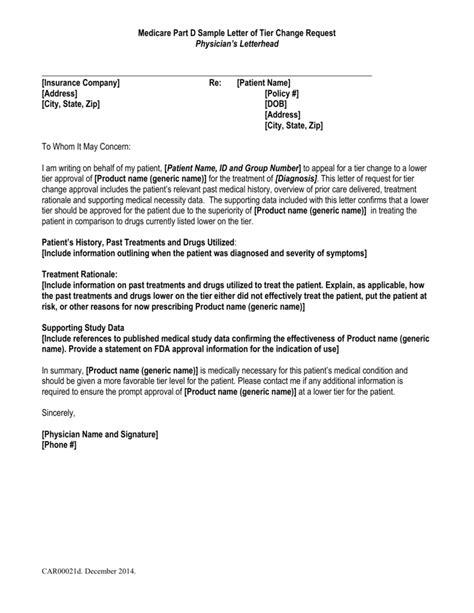 medicare part  sample letter  tier change request