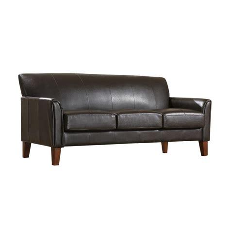 home depot sofa homesullivan vinyl microfiber sofa in dark brown 409913pu