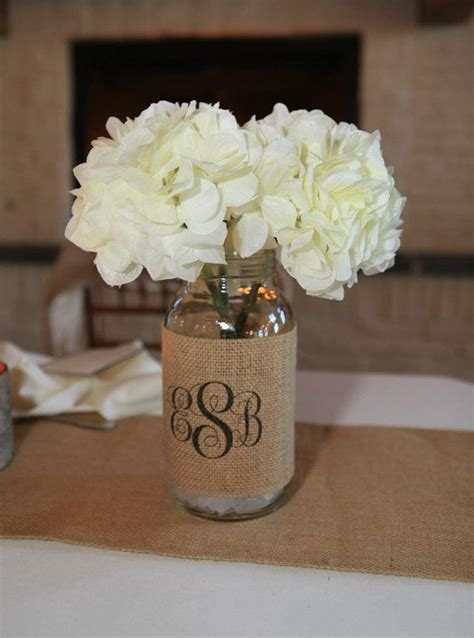 monogram burlap mason jar sleeve wedding table