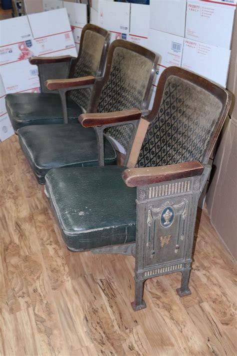 cinema theater seats  row vintage folding chairs