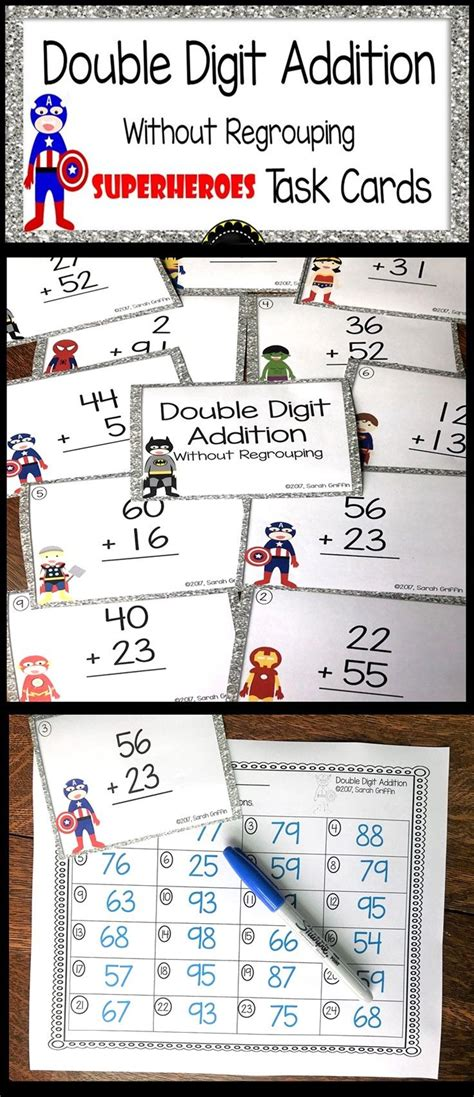 digit addition without regrouping superheroes math center task cards k 2 math