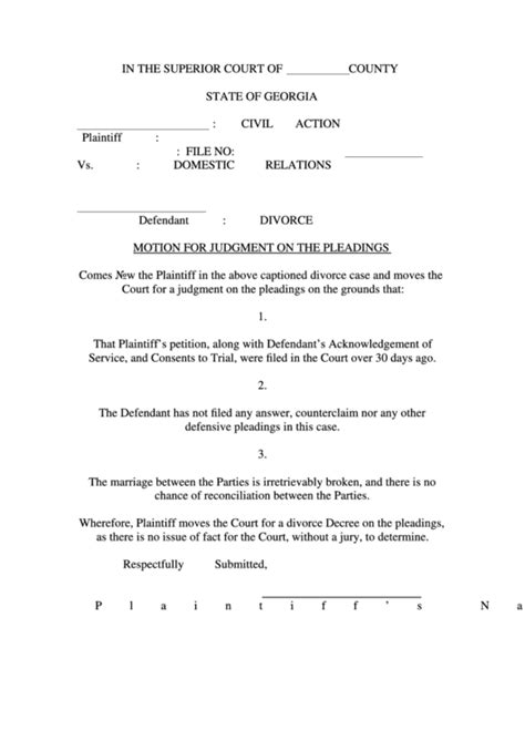 fillable motion  judgment   pleadings printable