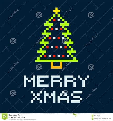 best pixel merry christmas 8 bit pixel merry tree stock vector image 47933132