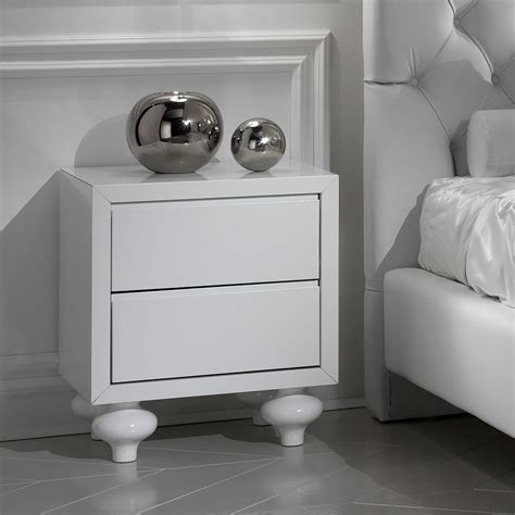 blacck  white lacquer bedside table