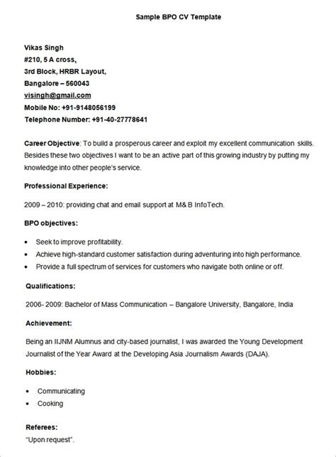 resume format for bpo in pdf 10 bpo resume templates free word pdf sles