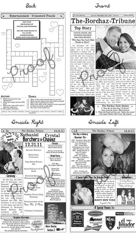 wedding program newspaper template mini newspaper