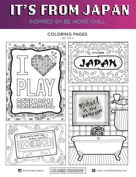 """Theatre stage coloring pages coloring pages, christmas tree coloring page, tree coloring page. Be More Chill """"It's From Japan"""" - Coloring Pages   Be more chill, Be more chill musical, Chill"""