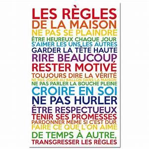 Affiche Les Regles De La Maison : sticker les r gles de la maison multicolore pas cher stickers citations discount stickers ~ Melissatoandfro.com Idées de Décoration
