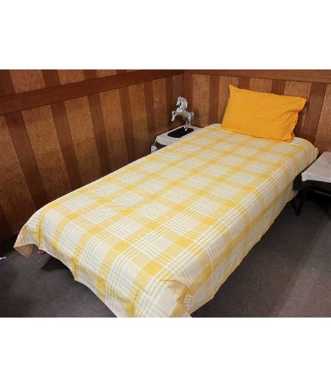 Buy Bed Covers by Aurave Yellow Checks Cotton Single Bed Cover Buy 1 Get 1