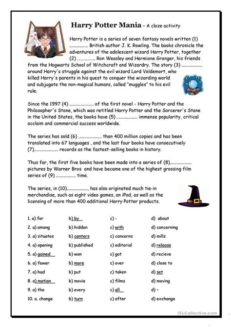 harry potter mania cloze worksheet  esl printable