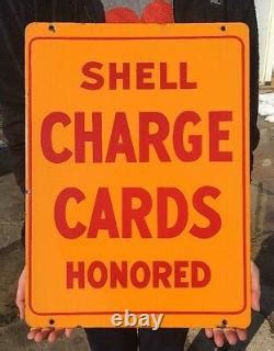 Of 5 gallons at participating shell stations. Vintage Porcelain Shell Charge Card Credit Honored Sign Double Sided Gas Pump