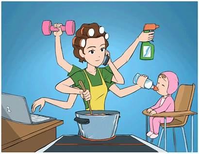 Multitasking Mom Cartoon Teacher Super Parent Ninja