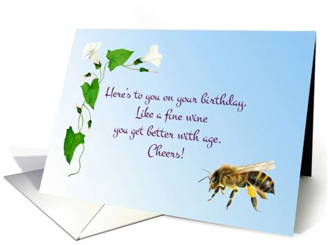 watercolor morning glory  honey bee birthday wishes card