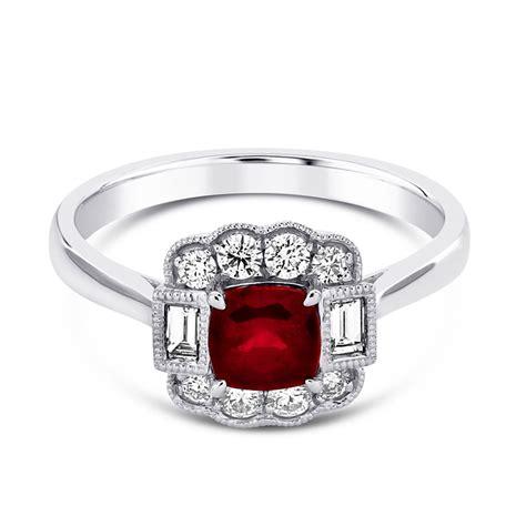 berry s platinum cushion cut ruby diamond surround ring