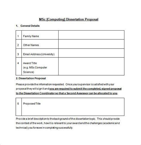 dissertation proposal templates  excel