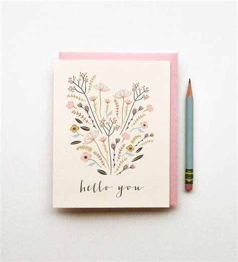 illustrated drawing birthday card pastels floral