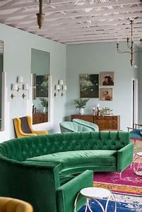 green velvet upholstery in living rooms inspiration With green velvet sofa for your modern living room