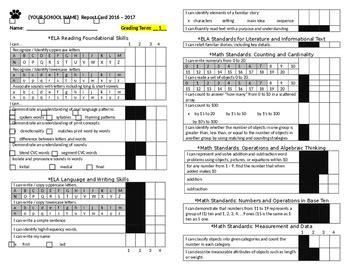 ccss kindergarten report card template   kinder tpt