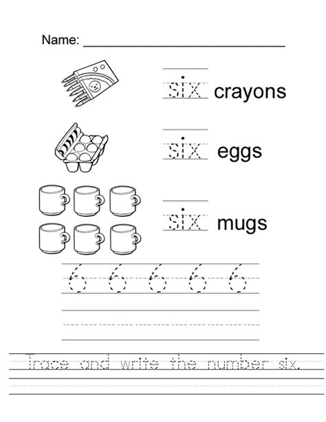 number 6 worksheets softschools loving printable