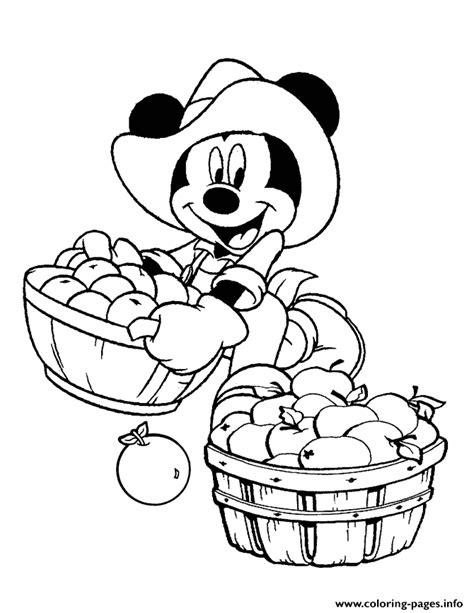 harvest time mickey disney coloring pages printable