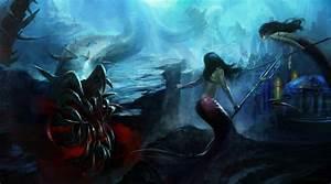 Fantasy art mermaids underwater monster dark weapons ...