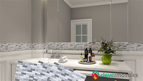 easy bathroom peel  stick backsplash tile ideas