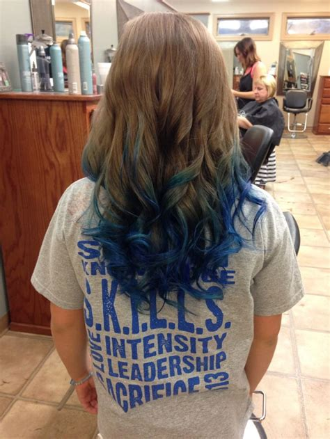 Long Brown Curled Hair With Blue Dyed Tips In 2019 Hair