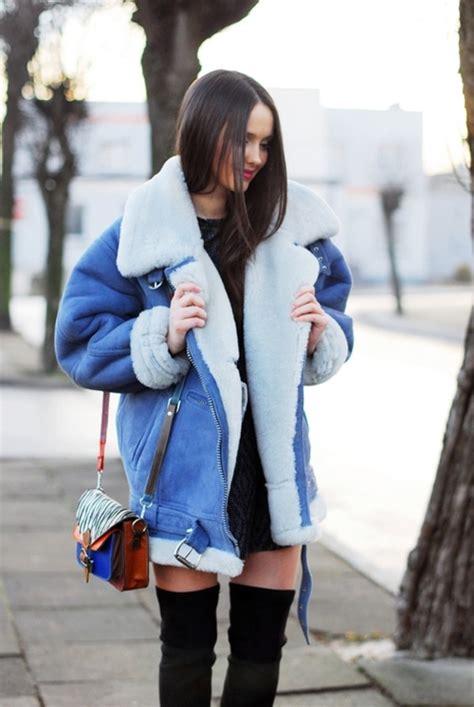 blue jacket faux fur jacket shearling jacket oversized