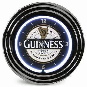 Guinness Label Neon Clock
