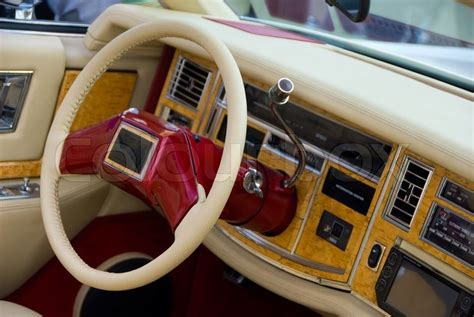 leather interior beige  classic car stock photo colourbox