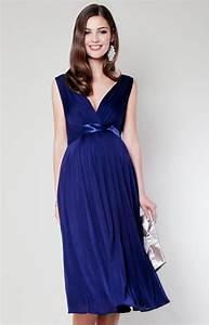 Anastasia maternity dress short eclipse blue maternity for Maternity dresses for wedding party