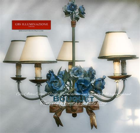 Lampadario Bouquet Azzurro 5 luciGBS Illuminazione ? Ferro