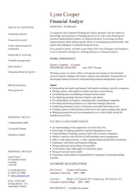 An Exle Of A Written Cv by Financial Analyst Cv Sle Interrogating Financial Data