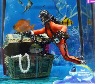 sea treasure action aquarium ornament scuba diver treasure