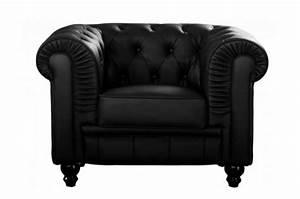 Fauteuil Simili Cuir : fauteuil chesterfield simili cuir noir fauteuils classiques pas cher ~ Teatrodelosmanantiales.com Idées de Décoration