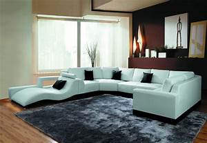 2264b, Modern, White, Leather, Sectional, Sofa