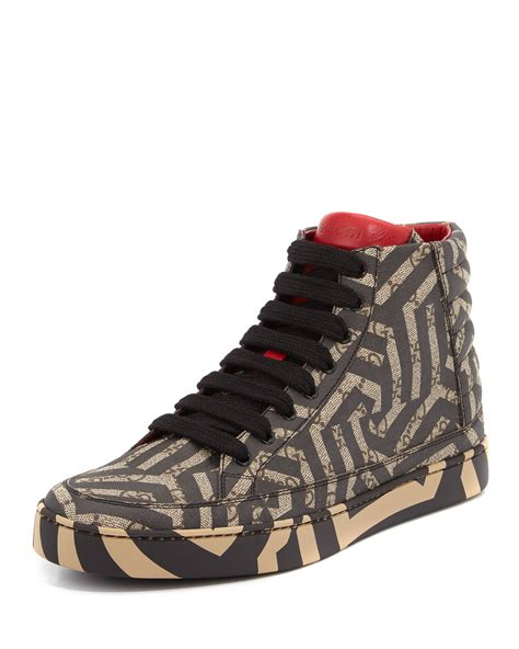 womens black wedges gucci gg caleido canvas high top sneaker in brown lyst