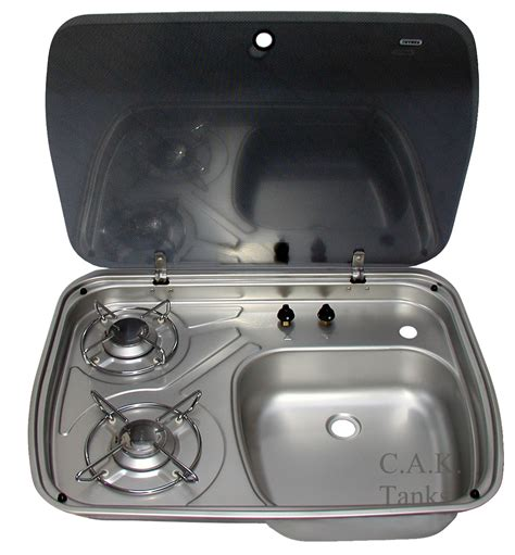 Dometic Cramer 2 Burner Hob Sink Combination With Glass Lid