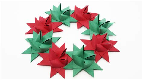 origami froebel star wreath traditional christmas