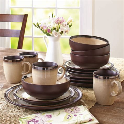 better homes and gardens dinnerware better homes and gardens sierra beige dinnerware set walmart com
