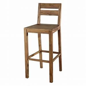 Chaise En Bois Massif : chaise de bar en bois de sheesham massif stockholm maisons du monde ~ Teatrodelosmanantiales.com Idées de Décoration