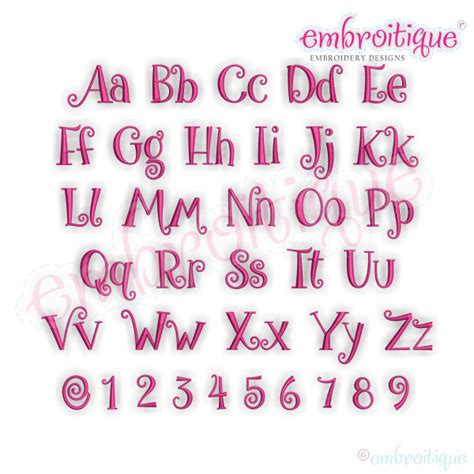 alphabets embroidery fonts buttons monogram set curly whimsical font  machine