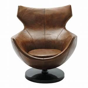 Fauteuil Cuir Marron Vintage : fauteuil de salon cuir vintage marron guariche jupiter maisons du monde ~ Teatrodelosmanantiales.com Idées de Décoration